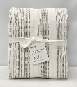 NEW Pottery Barn Hawthorn Striped Cotton FULL/QUEEN Duvet Cover~Taupe