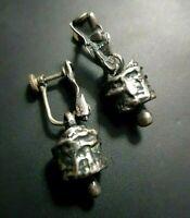 Sterling Silver 925 earrings Modernist Brutalist No-Hole Screwback Handmade 1960