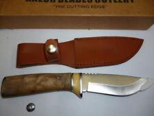 RAZOR BLADES RED STAG TIMBER HANDLE BURL WOOD DEER HUNTING SKINNING KNIFE 2ND