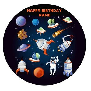 Space Rocket Planets Astronaut Edible Image icing cake topper party decoration