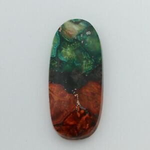 """Natural """"Aurora"""" Turquoise CABOCHON 49 x 22 x 7 mm - Red, Green, and Copper #1e"""