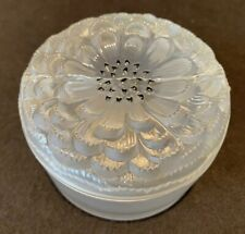 """Lalique France Crystal Dahlia Small Powder Box Jar 3 1/2"""" D Flower Frosted AS IS"""