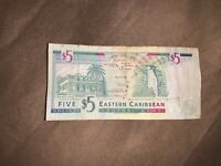 Dominica: Eastern Caribbean Central Bank, 5 dollars