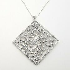 New 925 Sterling Silver Large Square White Topaz Open Floral 18'In Chain Pendant