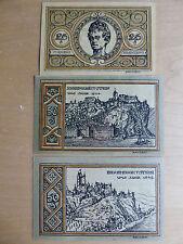 3 x Notgeld Stadt EHRENBREITSTEIN am Rhein, 1 x 25 - 2 x 50 Pf, 03.08.1921,
