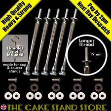 5 x Long Fils Argent Présentoir Gâteau Barres+ boulons,métal laveurs & plastique