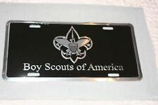 BOY SCOUT BSA OFFICIAL ALUMINUM LICENSE PLATE TAG  BLACK AND SILVER