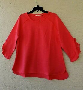 SOFT SURROUNDINGS CACTUS FLOWER FRENCH TERRY YARN DYED PURL STITCH TUNIC SIZE 1X