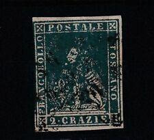 FRANCOBOLLI - 1857 TOSCANA 2 CR. AZZURRO Z/8749