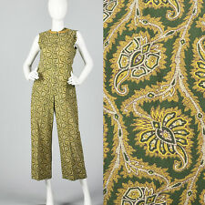Small 1980s Green Print Jumpsuit Gold Leaf Pattern Sleeveless VTG Zip Front