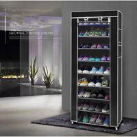 10 Tier 9 Shelf Shoe Rack Shelf Standing Clost Cabinet Saving Storage W/ Cover