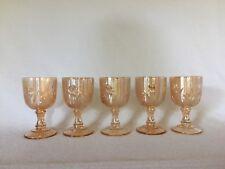 5 Vintage Iridescent Iris Jeannette Depression Glass Wine Goblets Free U.S. Ship