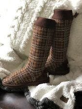 UGG boots Womens Sz 10 Sweater Upper Brown Authentic Plaid