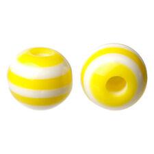 Lot 30 Perle 6mm Rayé Jaune en resine 6 mm perle rayée rayes