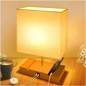 Touch Bedside Lamps for Bedrooms,Linen Table Lamp with Fast USB & Type-C Ports,3