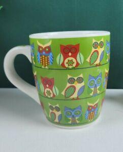 Debra Valencia Blue Harbor Collection - Multicolor Owl Mug