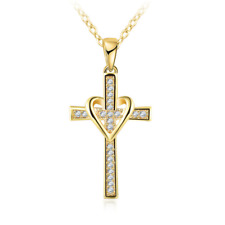 14K gold plated heart cross pendant necklace