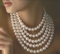 100 INCH AAA 10-11MM REAL SOUTH SEA GENUINE WHITE PEARL NECKLACE 14K GOLD CLASP