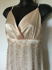 Size 44 / Size 14 Smart Flattering Beige Sequinned Beaded Cocktail Dress - New