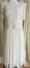 Miss Elliette vintage cream lace and chiffon dress formal gown size 10