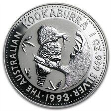 Perth Mint Australia $1 Dollar Kookaburra 1993 1 oz .999 Silver Coin