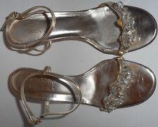 BADGLEY MISCHKA  Shoes Sandals Heels 7 37 Metallic Gold Flower Crystals