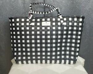 Kate Spade Black And White Woven Beach Tote, Extra Large Size