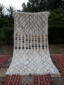"Vintage Moroccan Rug Azilal Colourful Tribal Berber Hand Knotted carpet 8'6""x4'7"