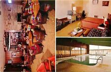Mansfield Ohio~Ramada Inn~Guest Room TV~Beer Barrel Chairs in Cocktail Bar~1960s