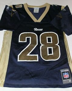 Boy's New Reebok Los Angeles Rams Marshall Faulk Jersey Medium 17.5  x 25.5