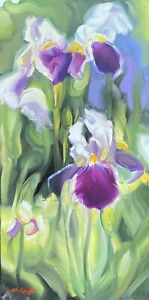"Abbott Oil Stretched Canvas 20""x10"" Bearded Iris From Mama June's Flower Garden"