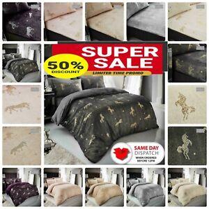 Teddy Bear Unicorn Star Fitted Sheet OR Duvet Cover Set Fur Sherpa Warm Bedding