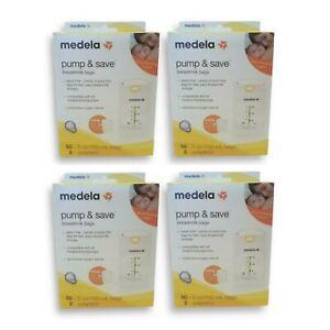 MedelaPump&SaveBreastmilk Storage Bags 50 ct + Adapters (4 Pack, 200 Total)