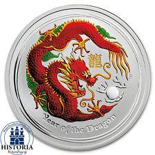 Australien 50 Cents Silber 2012 Stgl Lunar II Serie Jahr des Drachen in Farbe