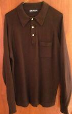 PURITAN lrg thin sweater 1970s w/ collar & pocket rockabilly mod polyester