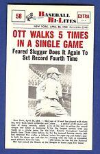 1960 Nu-Card Baseball Hi-Lites Ott Walks 5 Times in a Single Game #58 Ex-Mt/NrMt
