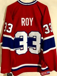CCM Ribbed Knit LS NHL Jersey Montreal Canadiens Patrick Roy Red sz L