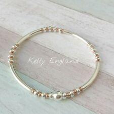 Sterling Silver & Rose Gold Noodle Stacking  Bracelet