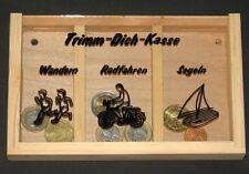 Spardose, Trimm-Dich-Kasse, Wandern, Radfahren, Segeln, unbehandeltes Holz, NEU