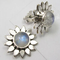 925 STERLING Silver RAINBOW MOONSTONE FLOWER Studs Posts NEW Earrings 5/8""