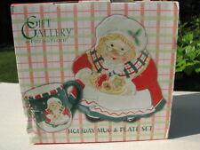 "Fitz & Floyd Gift Gallery Holiday ""Mrs Santa"" Mug & Plate Set ~New In Box"