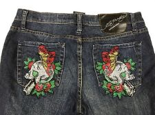 Ed Hardy Butterfly Skull Women's jeans size 29 Beaded Embroidered Embellished