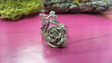 Beautiful Rose Flower Swirls Leaves Engraved Ring 925 Sterling *Size 7*F920