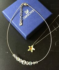 Swarovski Swan Signed Silvertone Twist Cable Necklace Ab Crystal Bead +Star Fish