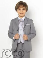 Boys Grey Suit, Page Boy Suits, Boys Prom Suits, Diamond Waistcoat Set