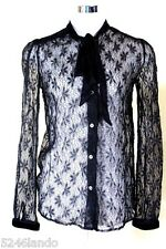 Dolce & Gabbana Black Mesh Lace Longsleeve Blouse Shirt Top 26/40 3 4 5