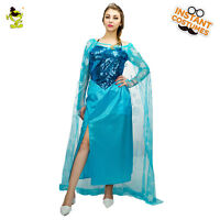 Adult Princess Blue Long Dress Women Costume for Cosplay Halloween Party