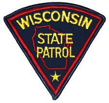 WISCONSIN STATE PATROL WI Sheriff Police Patch PIE SHAPE VINTAGE OLD MESH ~