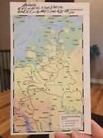 Panzer Ace Otto Carius Signed WWII BATTLE MAP - 150+ Tank Kills