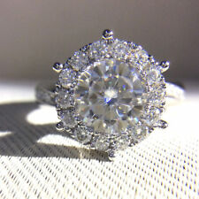 2.95Ct White Round Cut Solid 925 Sterling Silver Six Prong Halo Engagement Ring